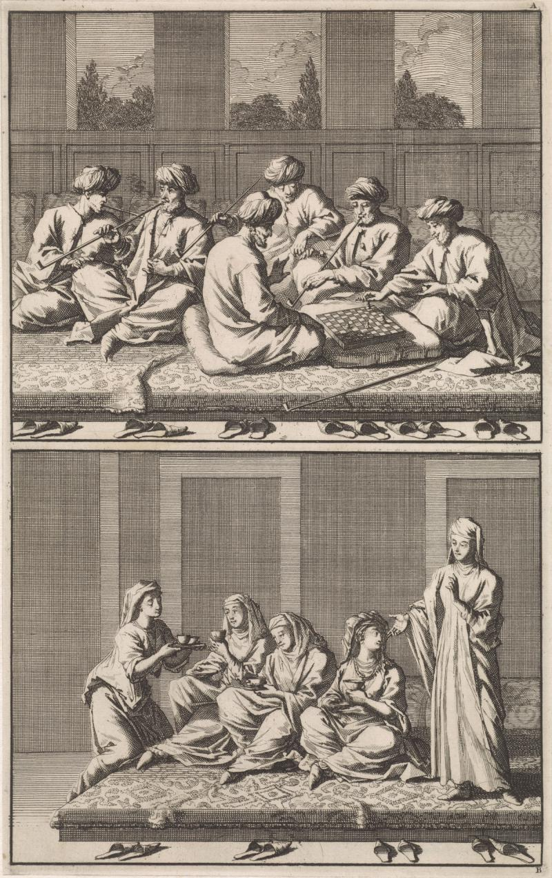 Company of six Turks smoking and playing chess