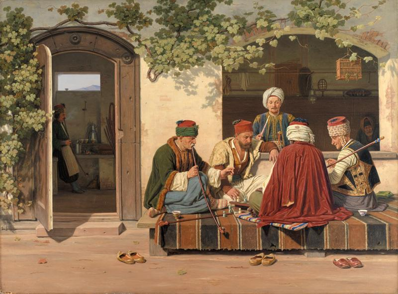 Martinus Rorbye: A party of chess players outside a Turkish coffeehouse and barbershop